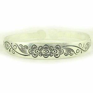 Open Bracelet Flower 🌸 Tibetan Silver